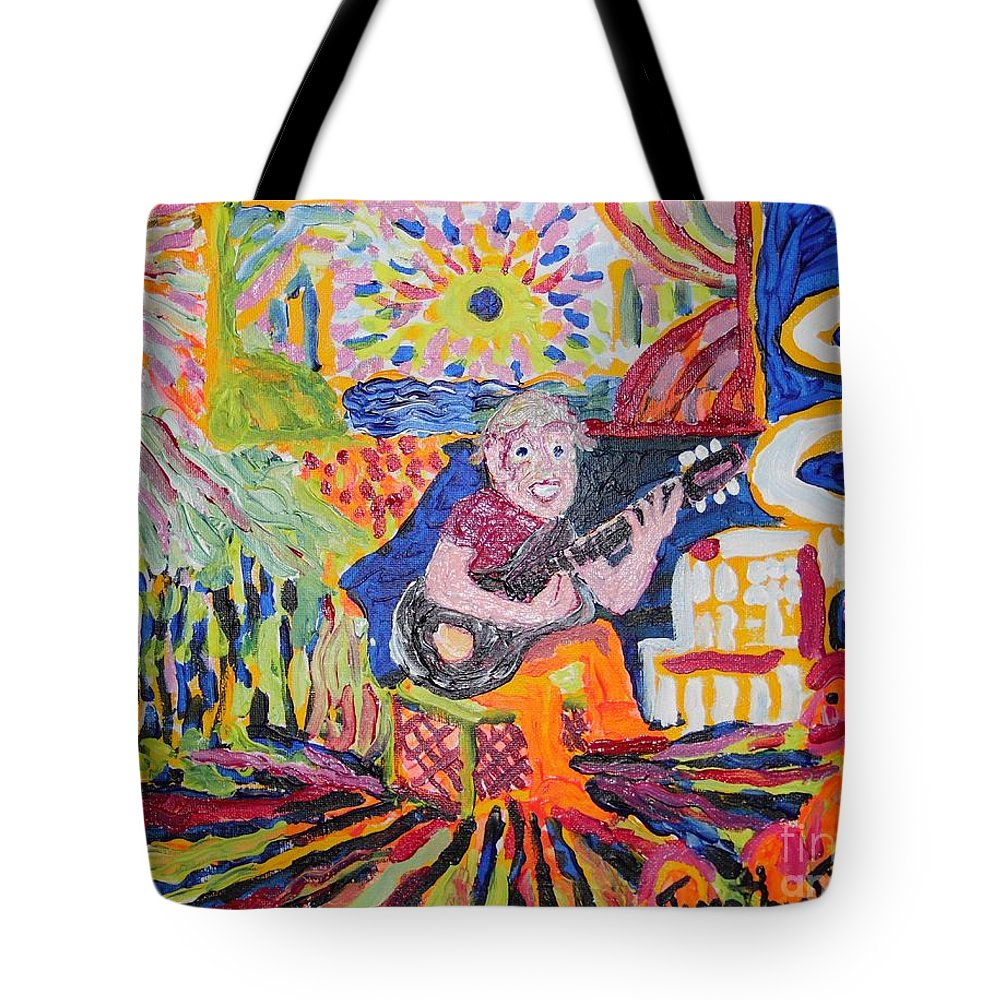 Playing Guitar Tote Bag featuring the painting Gifted Guitar Man by Timothy Michael Foley