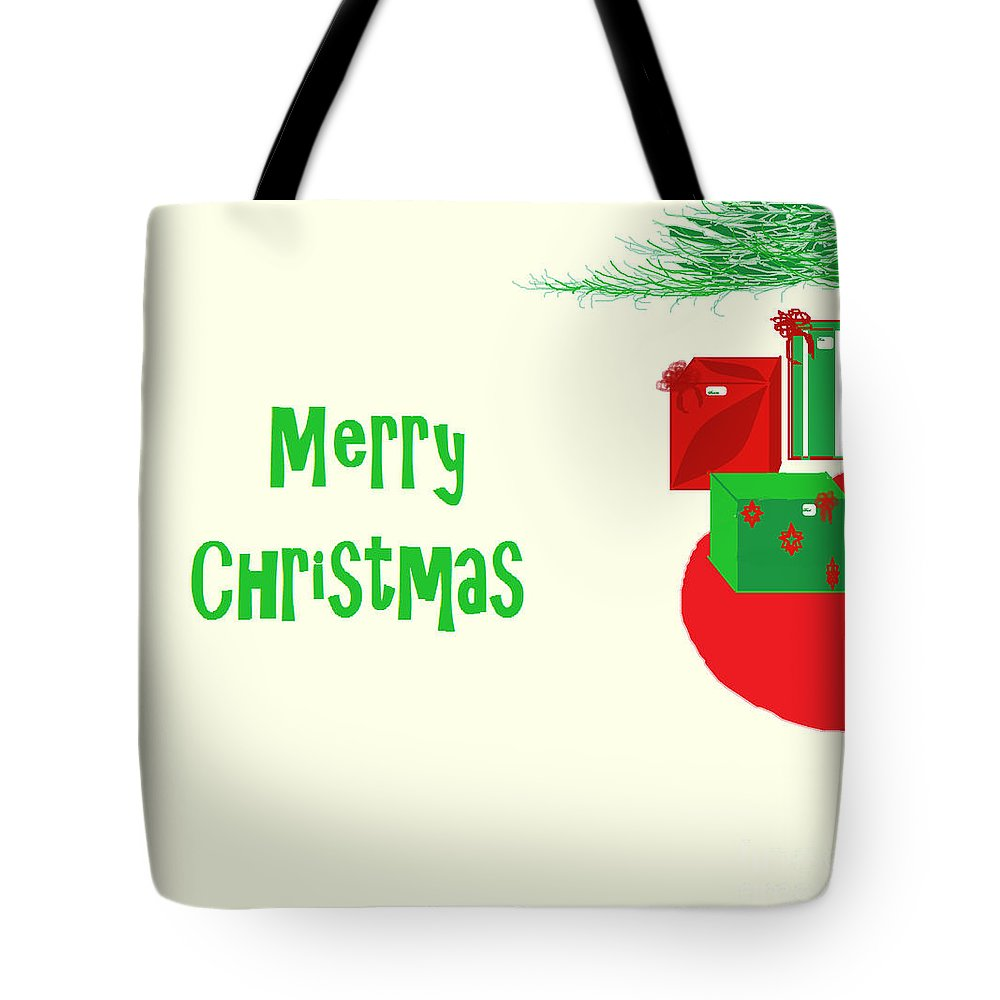 Christmas Tote Bag featuring the digital art Gifts Under The Tree by Mesa Teresita