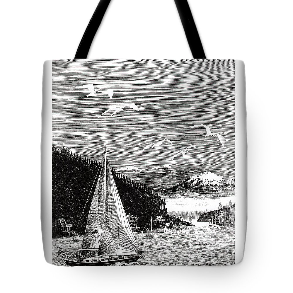 Yacht Portraits Tote Bag featuring the drawing Gig Harbor Sailing School by Jack Pumphrey