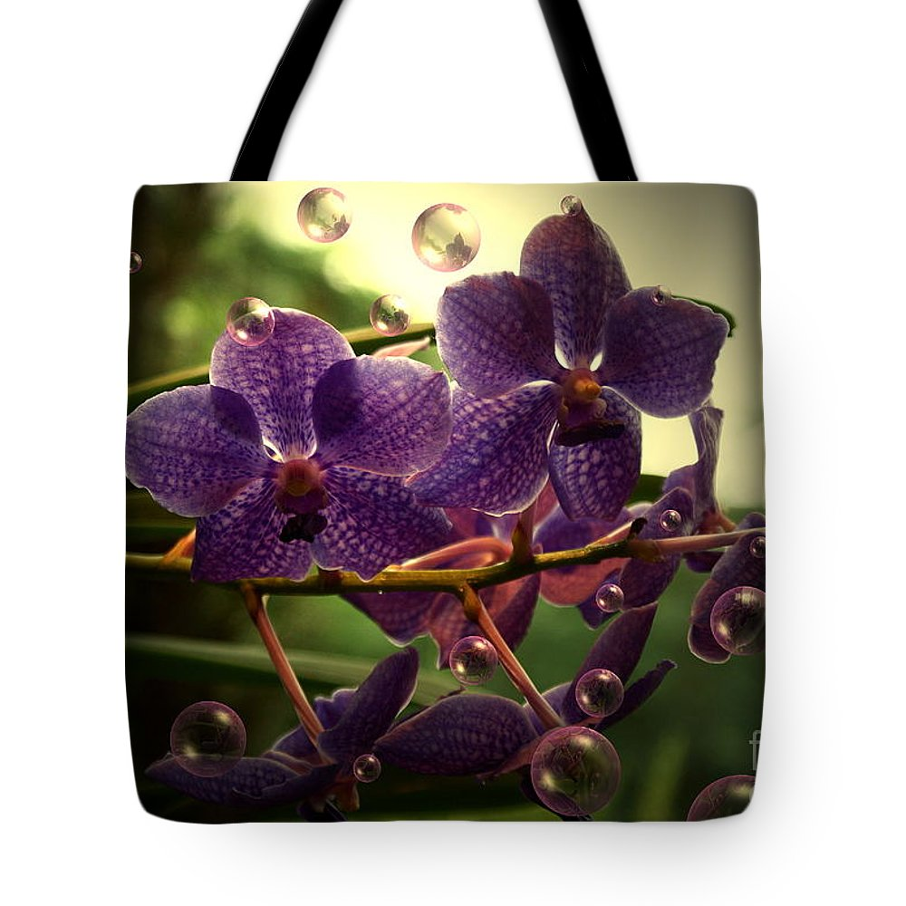 Orchid Bubbles Floral Tote Bag featuring the photograph Giggles by Joanne Smoley