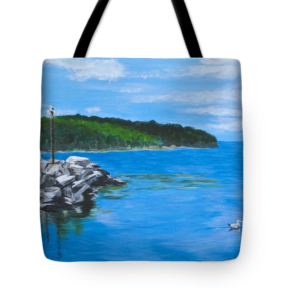 Gills Rock Tote Bag featuring the painting Gills Rock by Peggy King