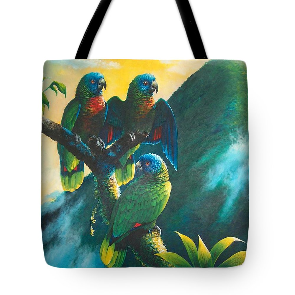Chris Cox Tote Bag featuring the painting Gimie Dawn 1 - St. Lucia Parrots by Christopher Cox