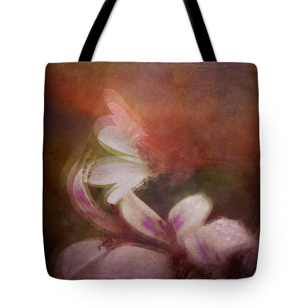 Macro Tote Bag featuring the mixed media Ginger Geranium by Laurie Andreoni