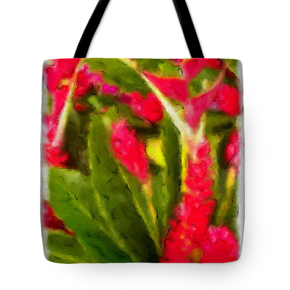 Flowers Tote Bag featuring the mixed media Ginger Plants On Kauai by Bruce Vollert