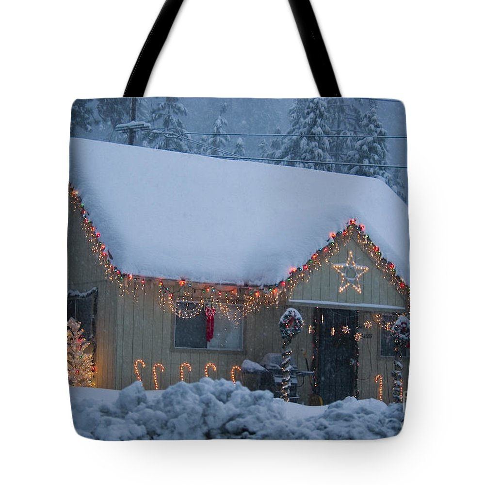 Snow Tote Bag featuring the photograph Gingerbread House In Snow by Jim And Emily Bush