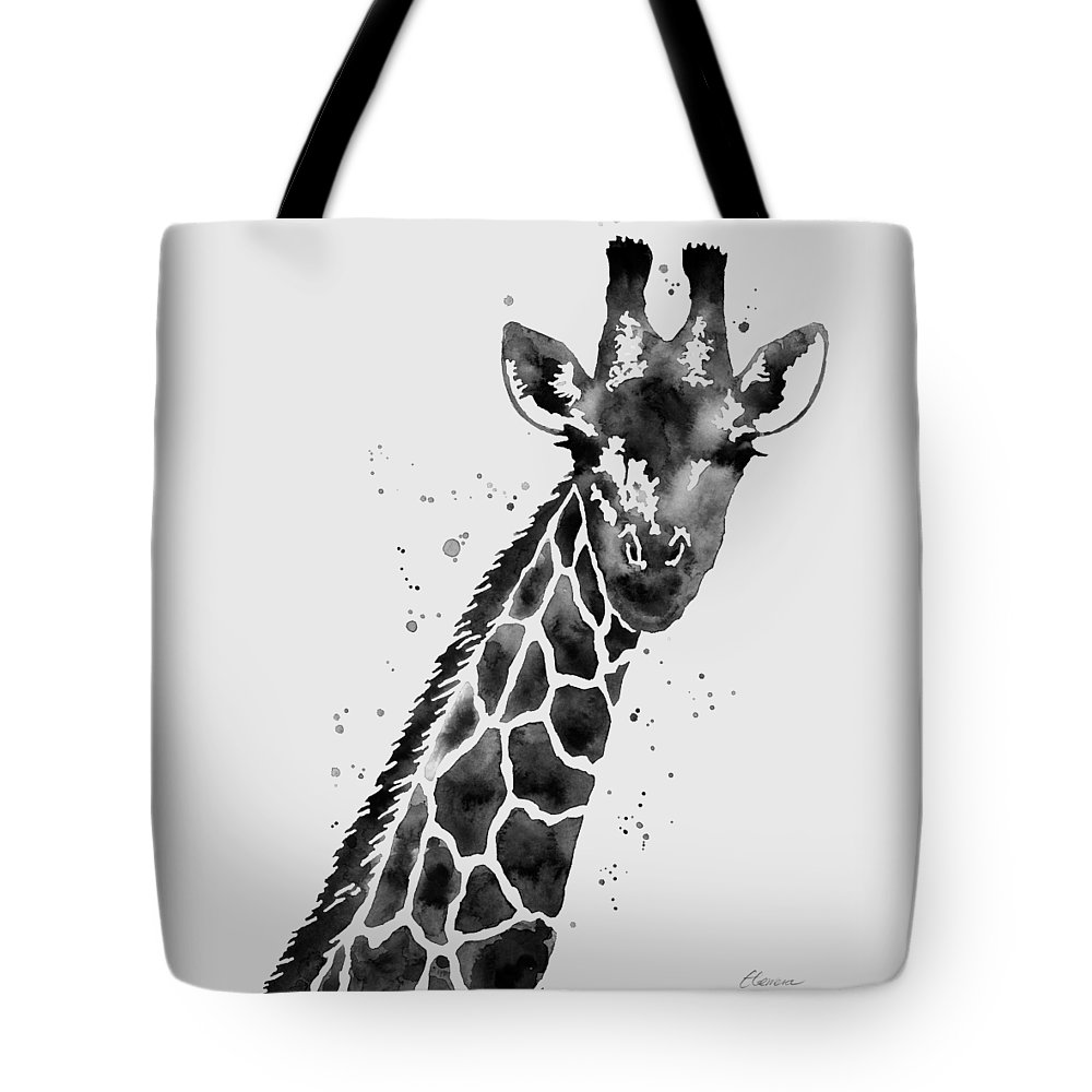 Giraffe Tote Bag featuring the painting Giraffe in Black and White by Hailey E Herrera