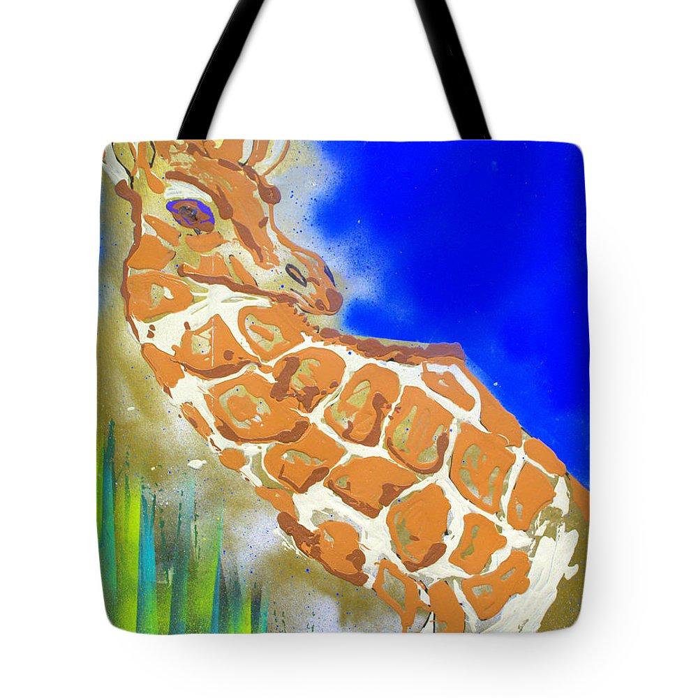 Giraffe Tote Bag featuring the painting Giraffe by J R Seymour