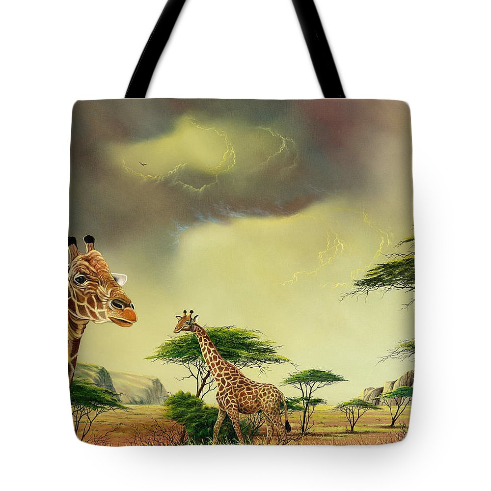 Landscape Tote Bag featuring the painting Giraffes At Thabazimba by Don Griffiths