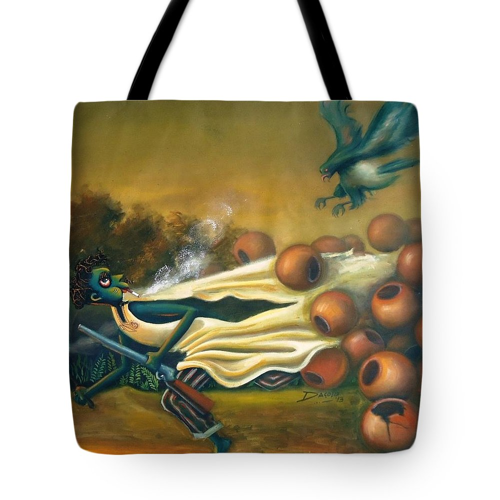 Tote Bag featuring the painting Girigiri by Dagold M