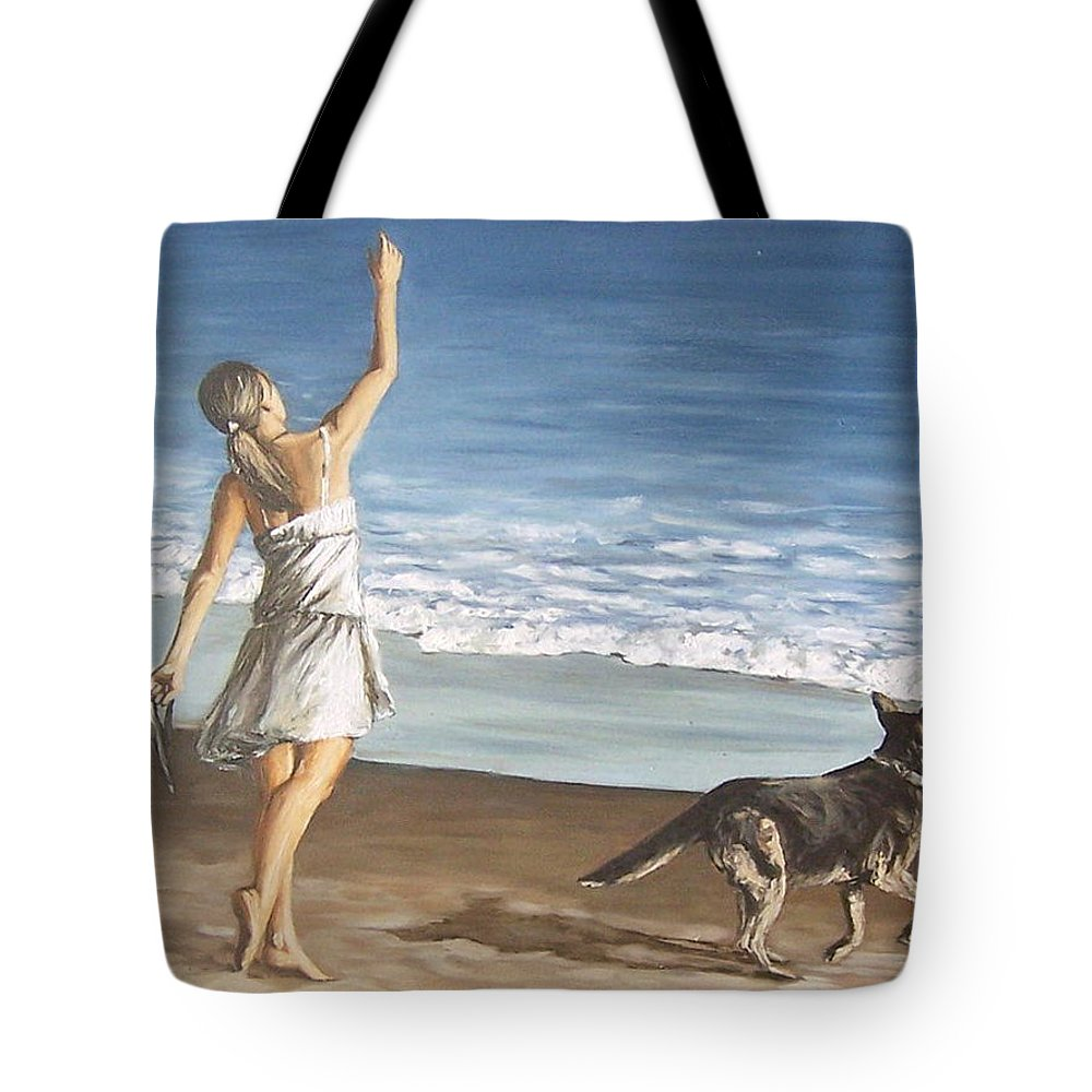 Portrait Girl Beach Dog Seascape Sea Children Figure Figurative Tote Bag featuring the painting Girl And Dog by Natalia Tejera