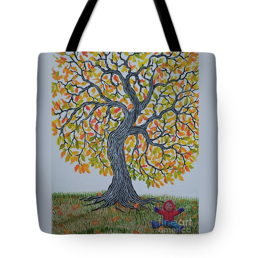 Girl Tote Bag featuring the painting Girl And Leafs by Nick Gustafson