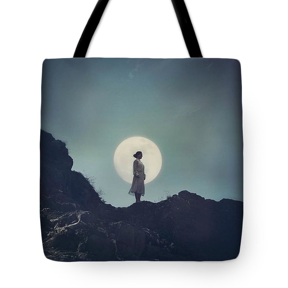 Girl Tote Bag featuring the photograph Girl And The Moon by Mark Owen