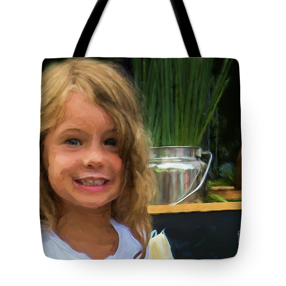 Girl Tote Bag featuring the photograph Girl At Market M1 10479vc by Doug Berry