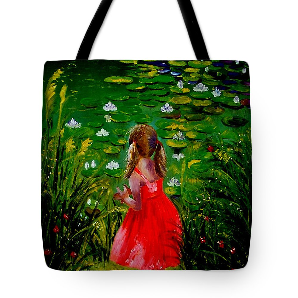 Pond Tote Bag featuring the painting Girl By Lily Pond by Inna Montano