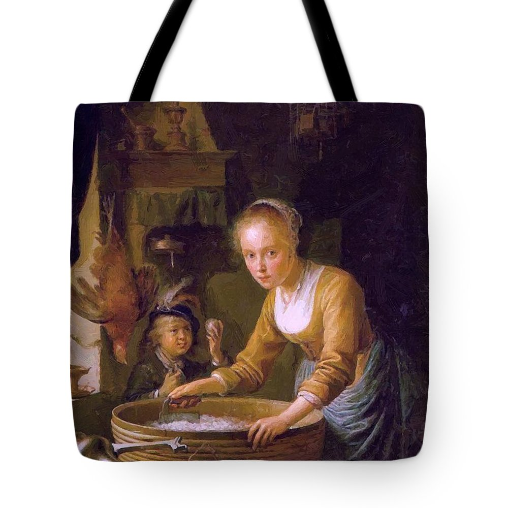 Girl Tote Bag featuring the painting Girl Chopping Onions by Dou Gerrit