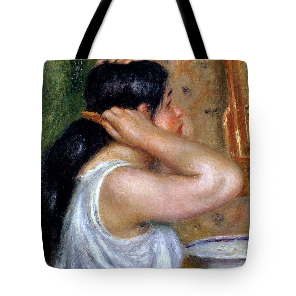Girl Tote Bag featuring the painting Girl Combing Her Hair by Pierre Auguste Renoir
