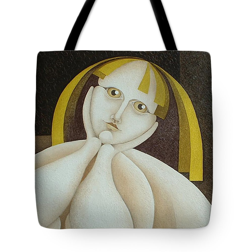 Sacha Circulism Circulismo Tote Bag featuring the painting Girl From Chile  2005 by S A C H A - Circulism Technique