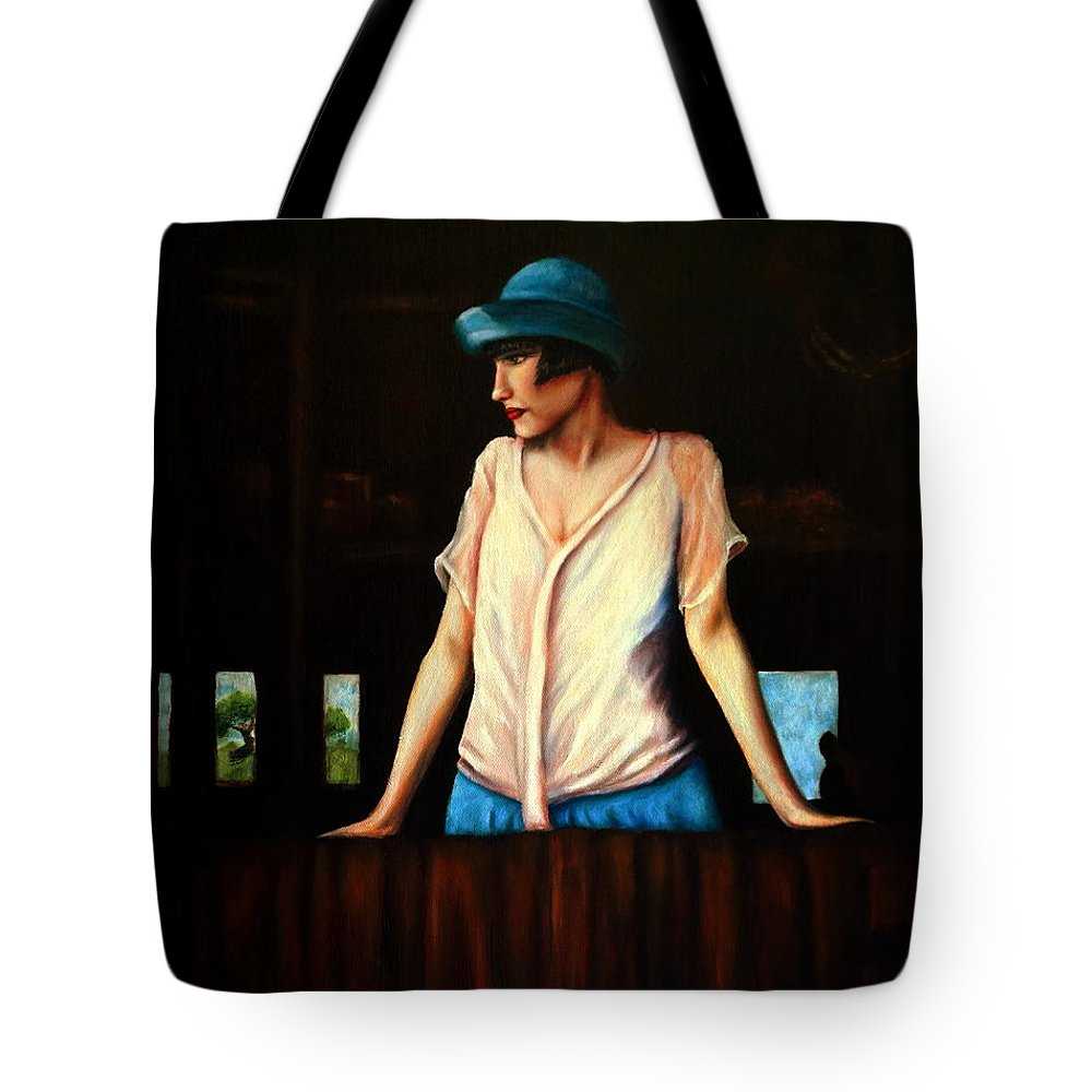 Adult Tote Bag featuring the painting Girl In A Barn by Georgia's Art Brush