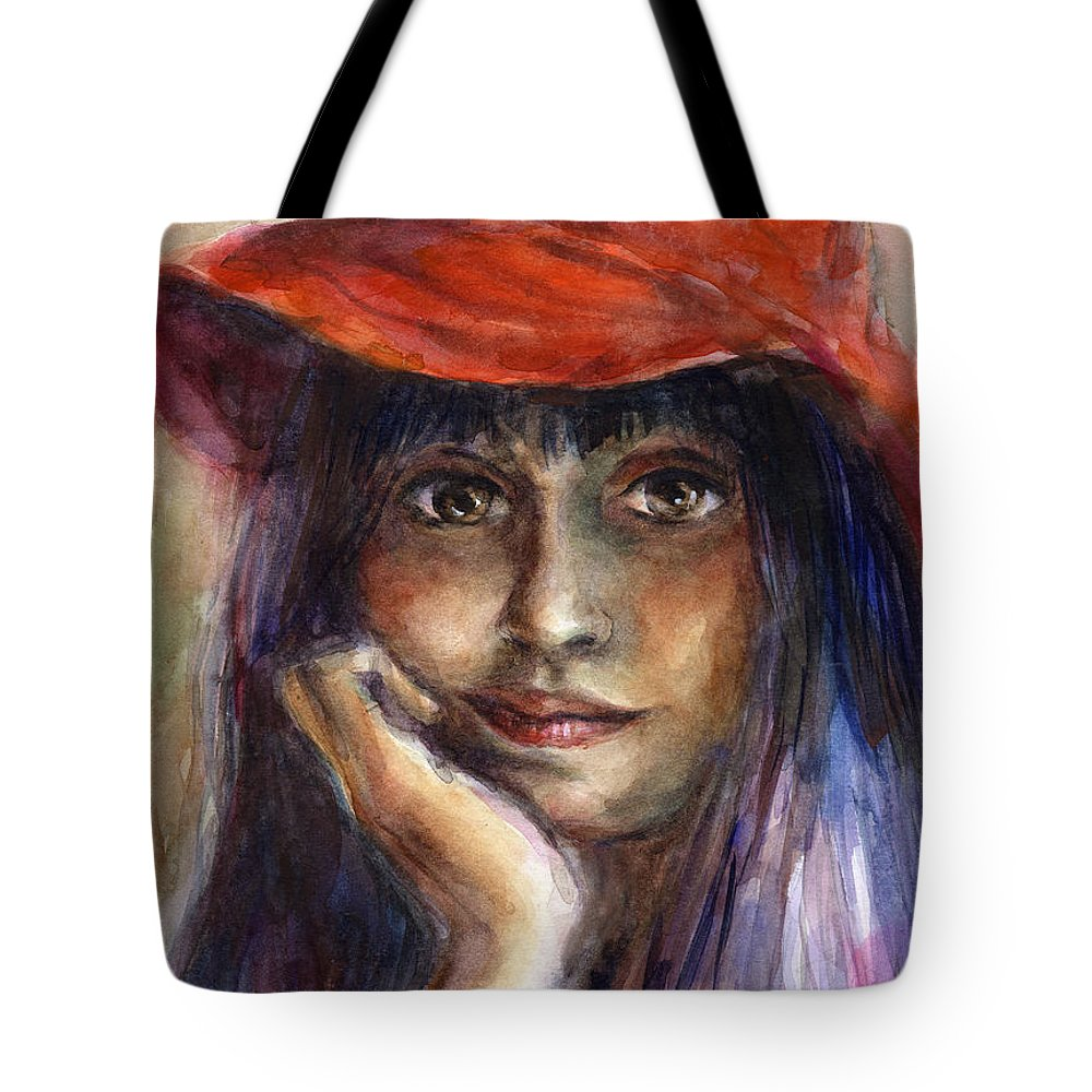 Watercolor Portrait Tote Bag featuring the painting Girl In A Red Hat Portrait by Svetlana Novikova
