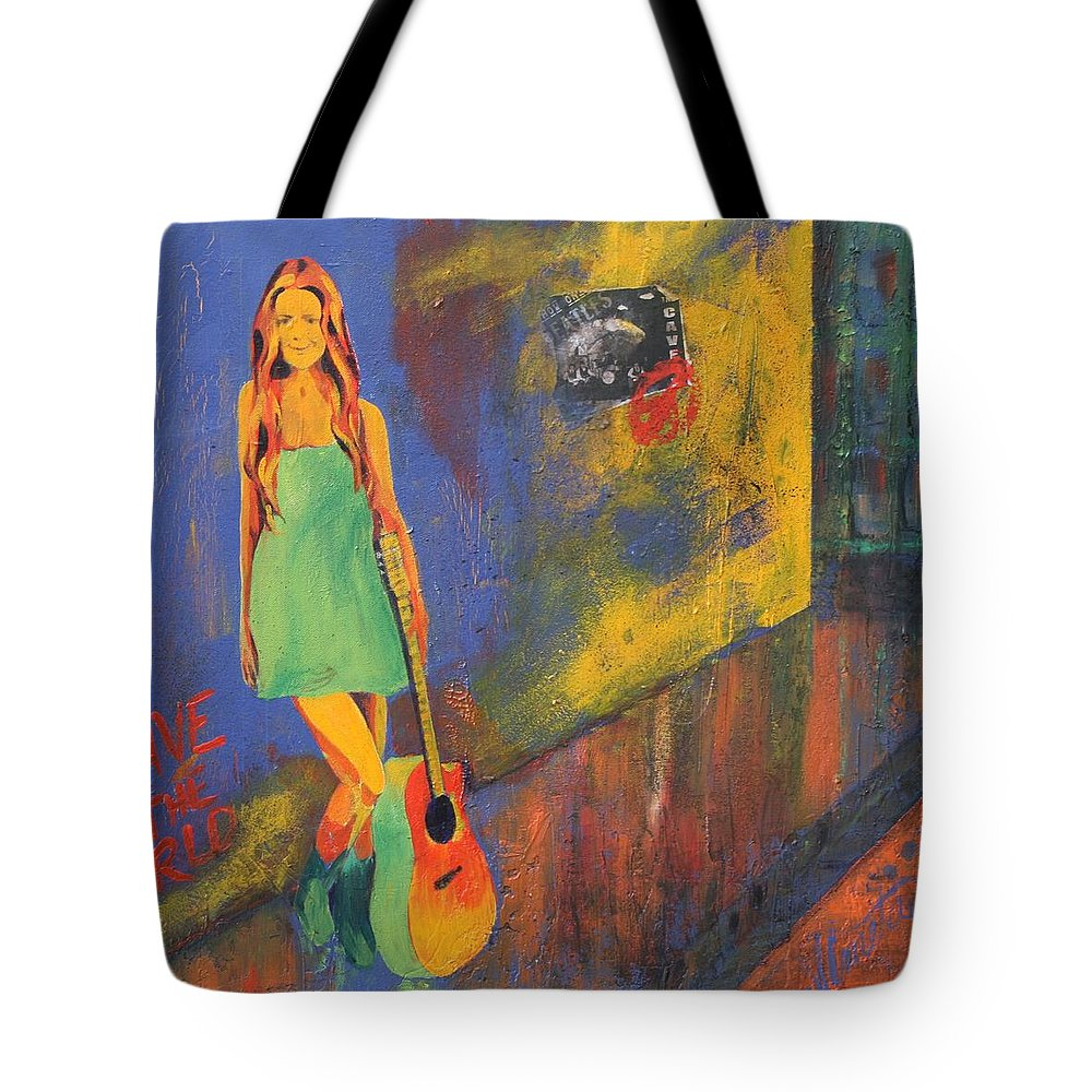 Pop Art Tote Bag featuring the painting Girl In Green Dress by Shirley Lennon