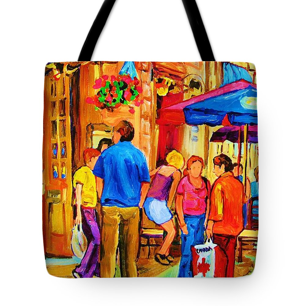 Montreal Cafe Scenes Tote Bag featuring the painting Girl In The Cafe by Carole Spandau