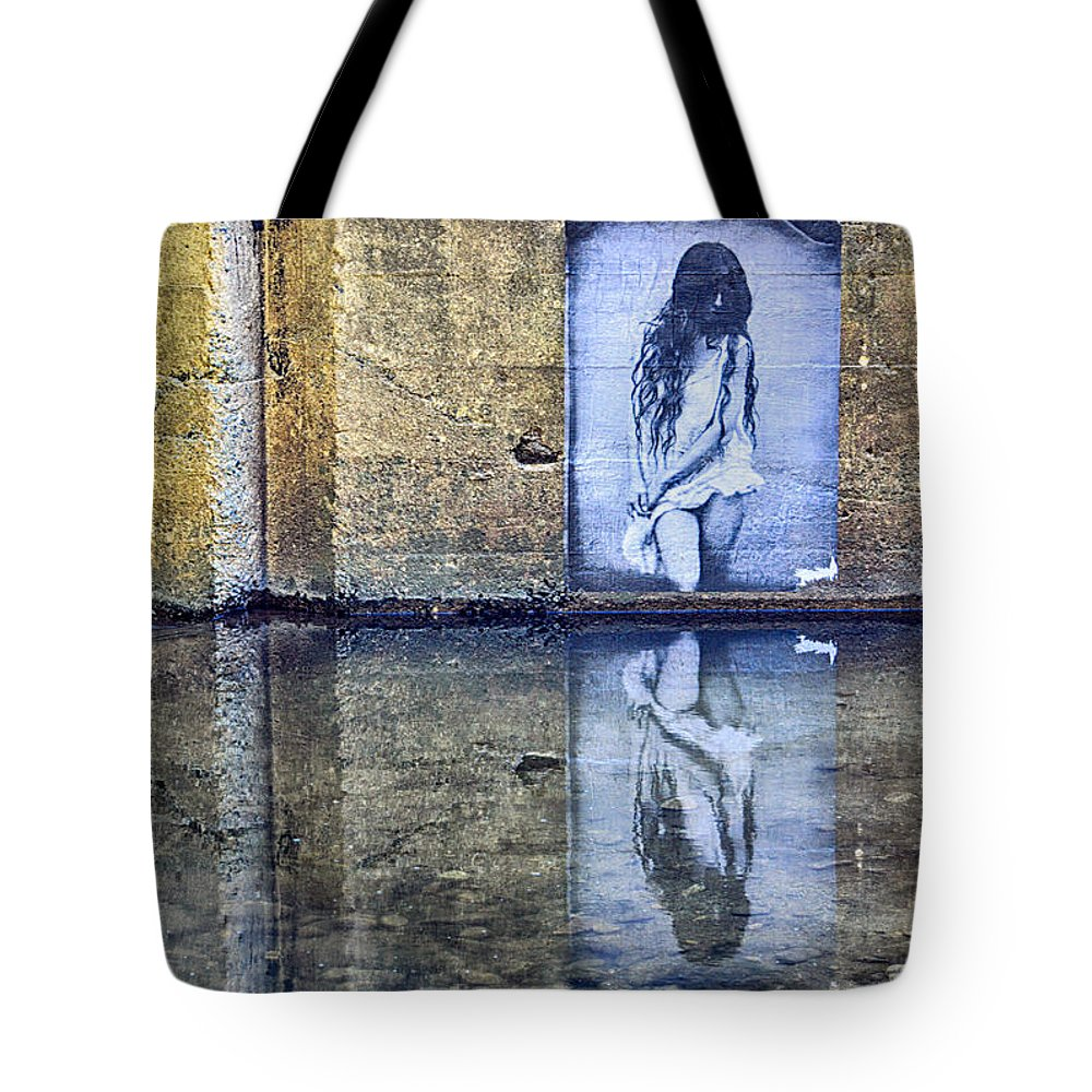 Reflection Tote Bag featuring the photograph Girl In The Mural by AJ Schibig