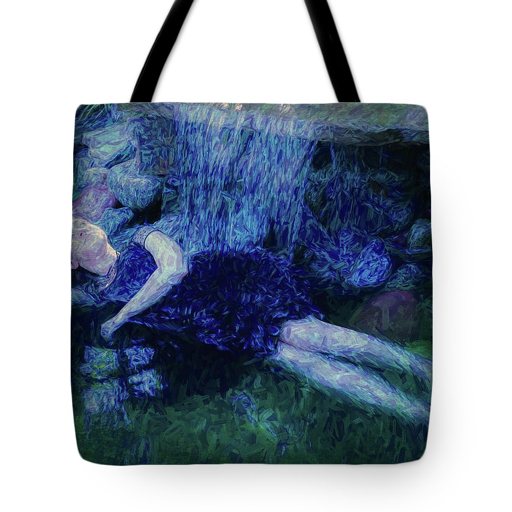 Girl Tote Bag featuring the painting Girl In The Pool 12 by Mike Penney