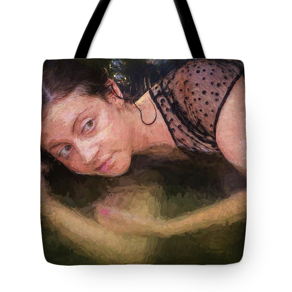 Girl Tote Bag featuring the painting Girl In The Pool 13 by Mike Penney