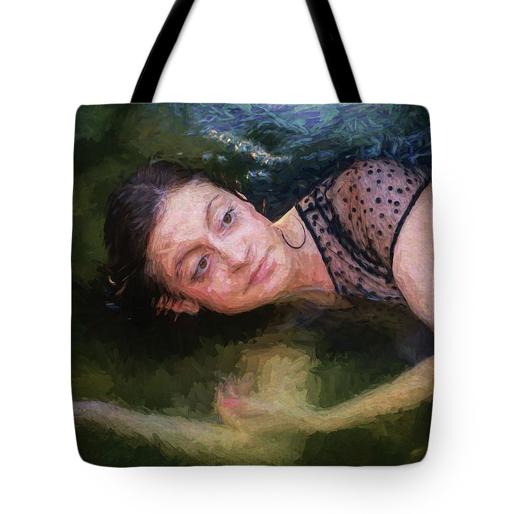 Girl Tote Bag featuring the painting Girl In The Pool 15 by Mike Penney