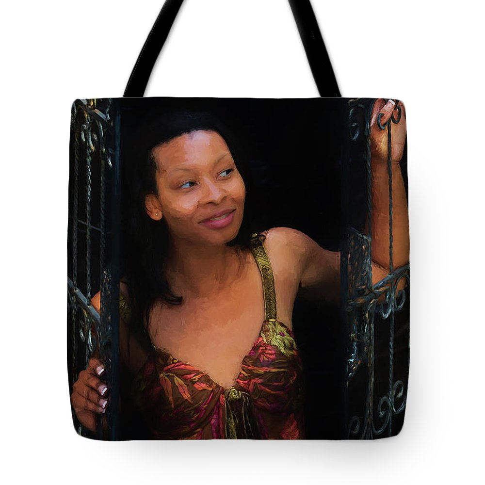 Girl Tote Bag featuring the photograph Girl In The Pool 19 by Mike Penney