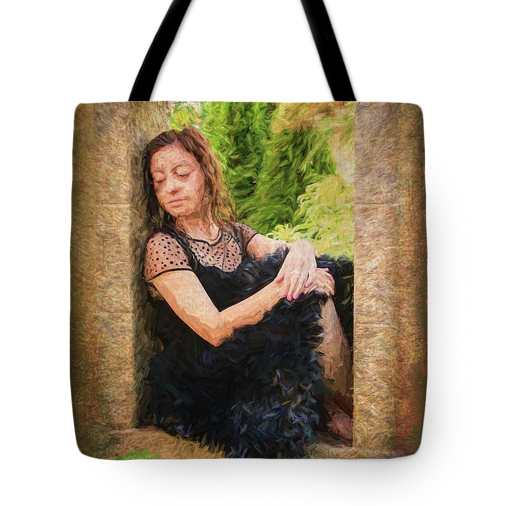Girl Tote Bag featuring the painting Girl In The Pool 21 by Mike Penney