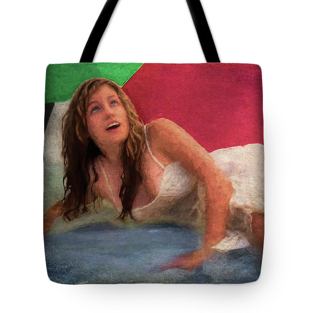 Girl Tote Bag featuring the painting Girl In The Pool 3 by Mike Penney