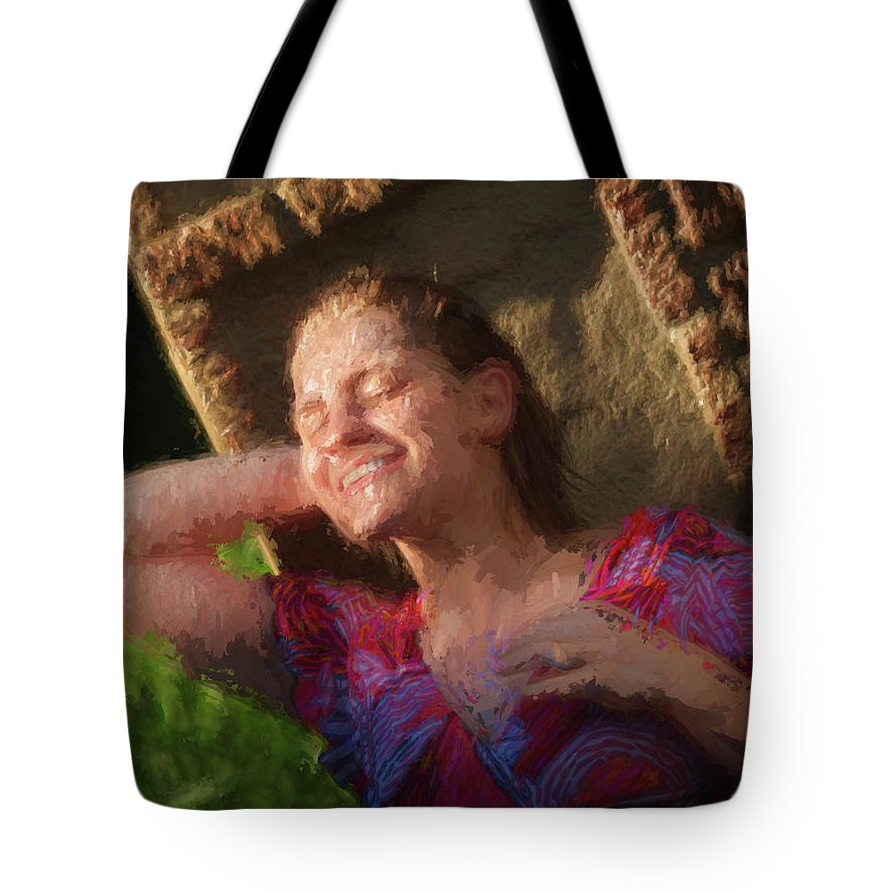 Girl Tote Bag featuring the painting Girl In The Pool 9 by Mike Penney