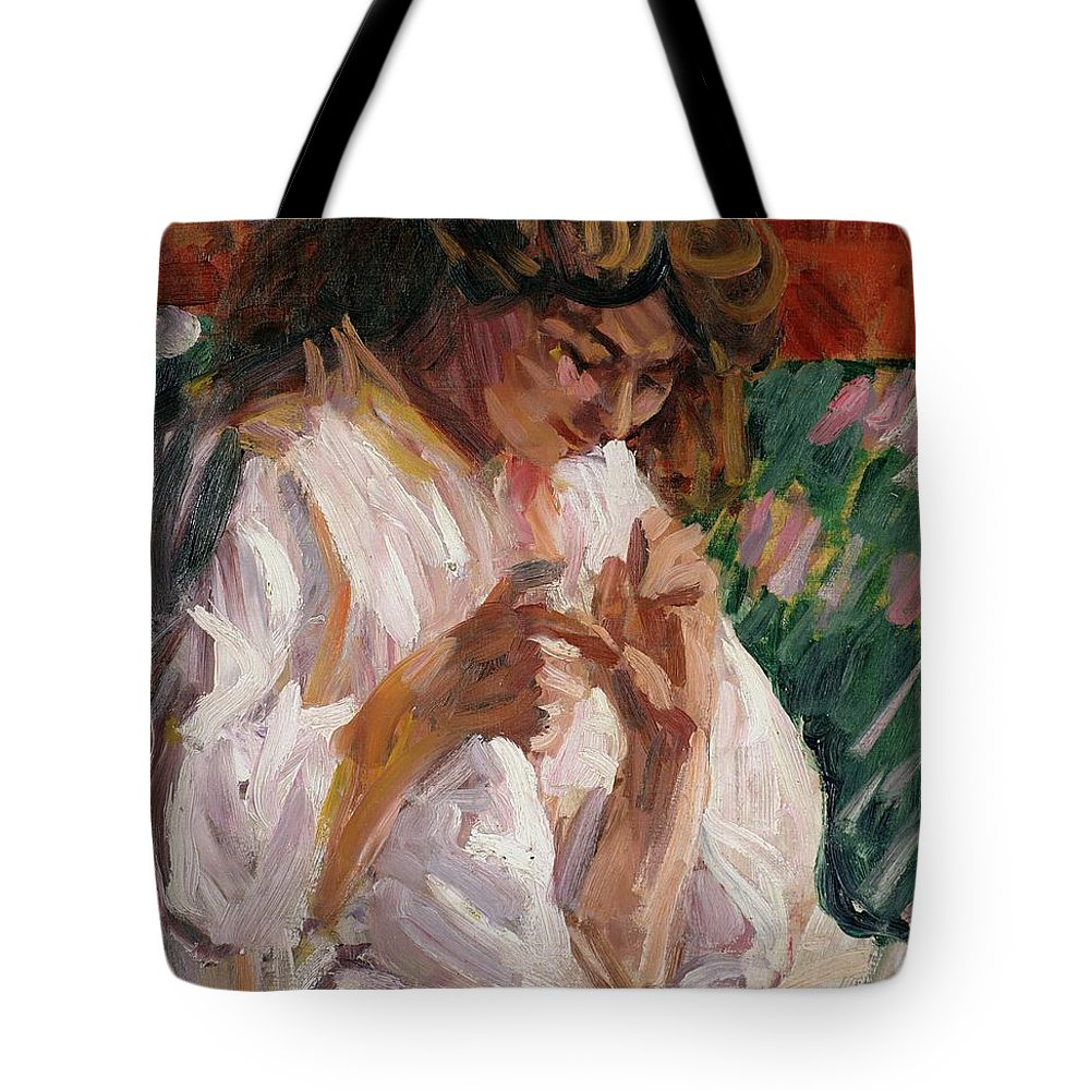 Girl Tote Bag featuring the painting Girl Mending by Roderic OConor