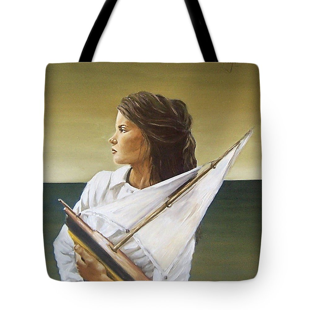 Little Girl Kid Children Portrait Figurative Seascape Sea Toy Tote Bag featuring the painting Girl by Natalia Tejera