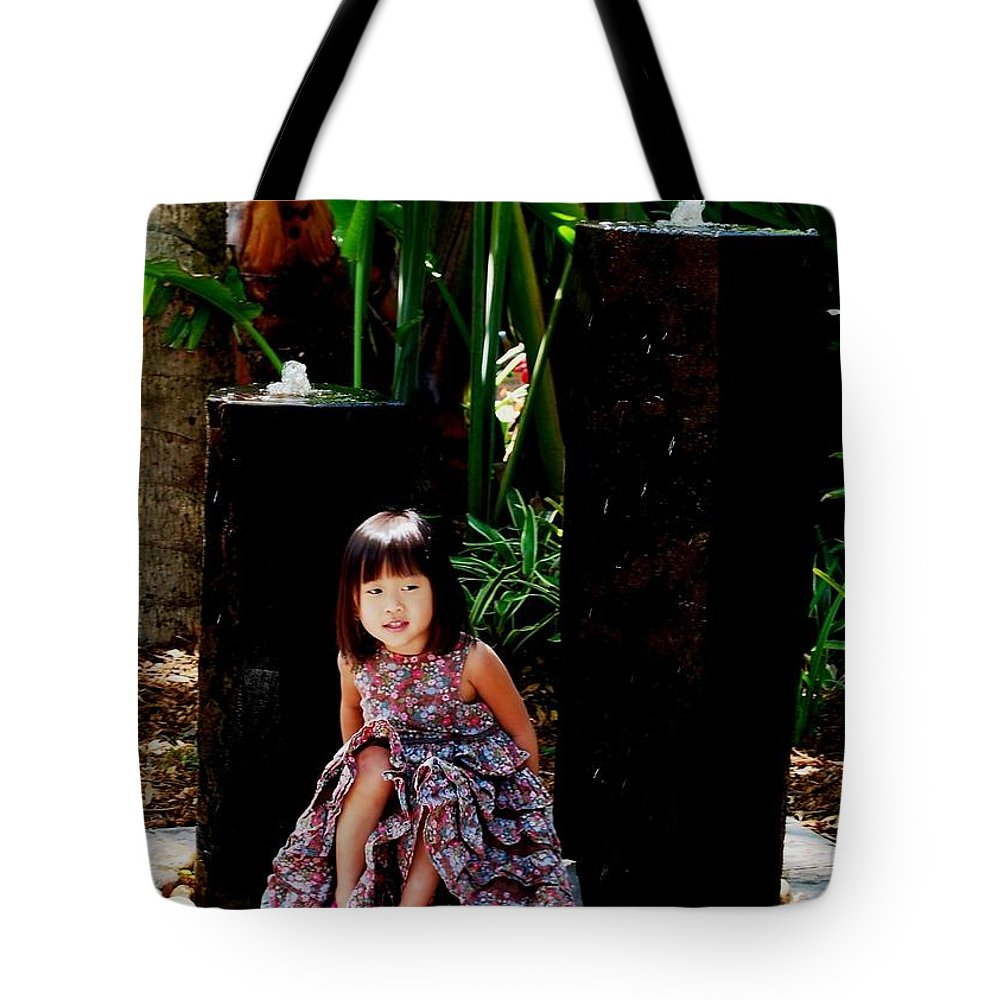 Child Tote Bag featuring the photograph Girl On Rocks by Angela Murray