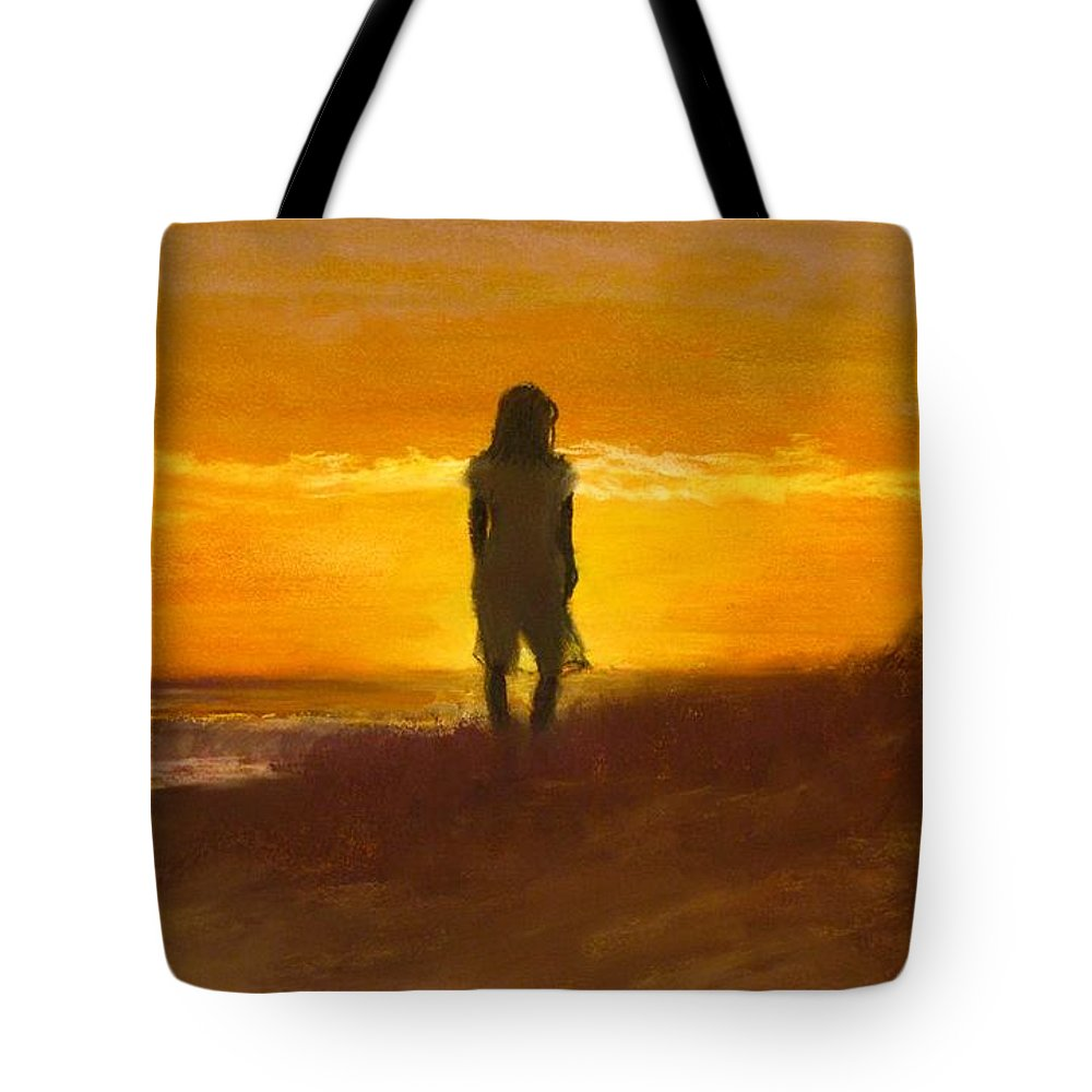 Beach Tote Bag featuring the painting Girl On The Dunes by Jack Skinner