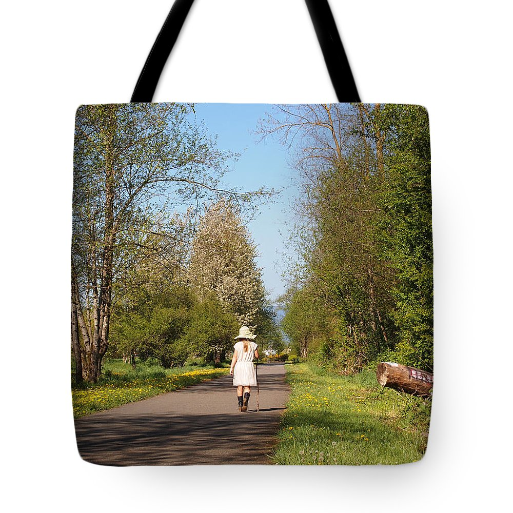 Girl In Straw Hat Tote Bag featuring the photograph Girl On Trail In Straw Hat by Nancy Clendaniel