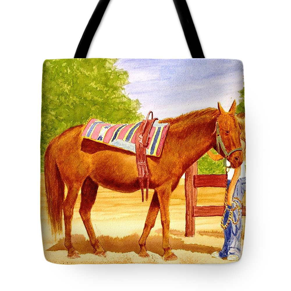 Equine Tote Bag featuring the painting Girl talk by Stacy C Bottoms