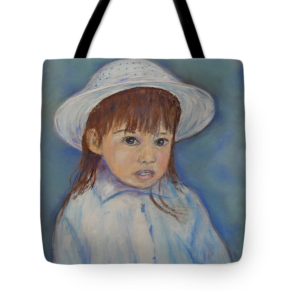 Girl Tote Bag featuring the painting Girl With A Hat by Loretta Luglio