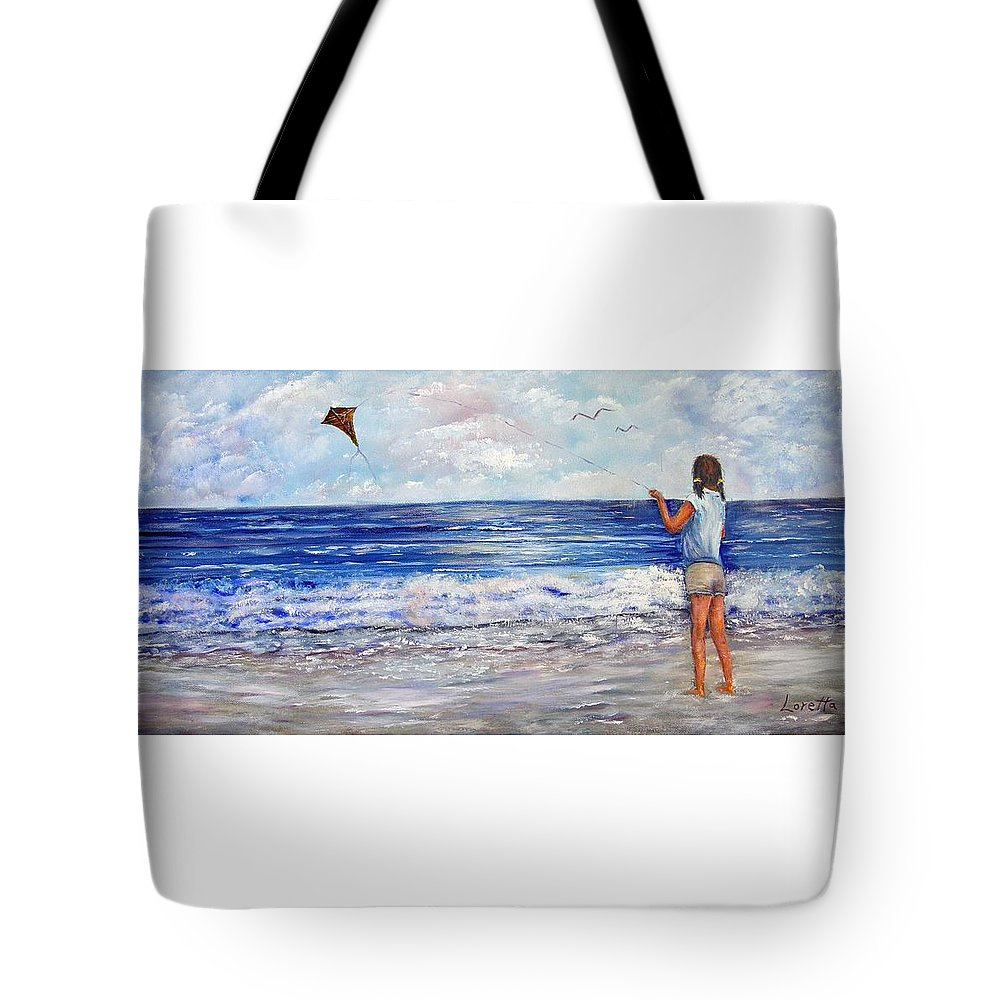 Kite Tote Bag featuring the painting Girl With A Kite by Loretta Luglio