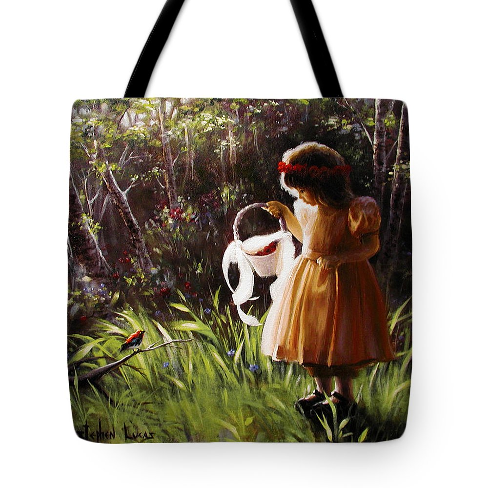 Tote Bag featuring the painting Girl With Basket Of Roses by Stephen Lucas