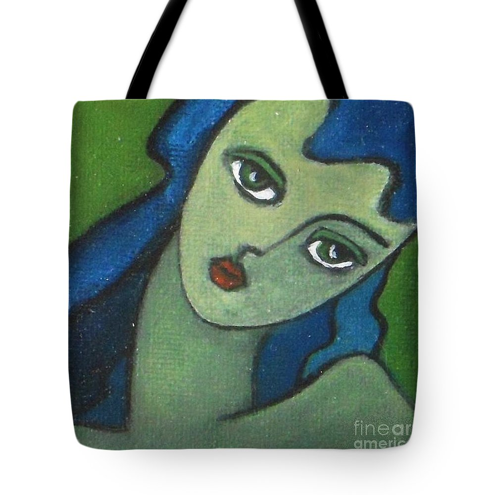 Portrait Tote Bag featuring the painting Girl With Green Eye by Vesna Antic