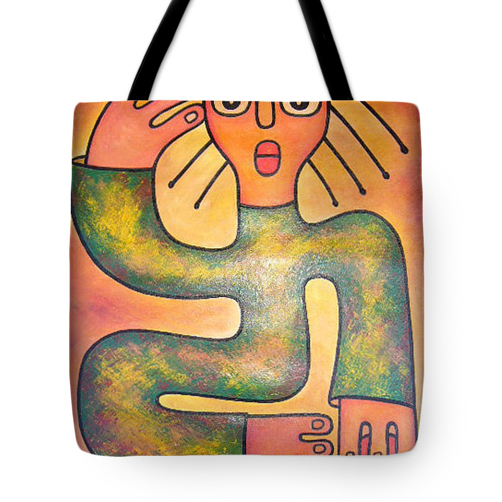Girl Tote Bag featuring the painting Girl With Long Hair by Elisha Ongere