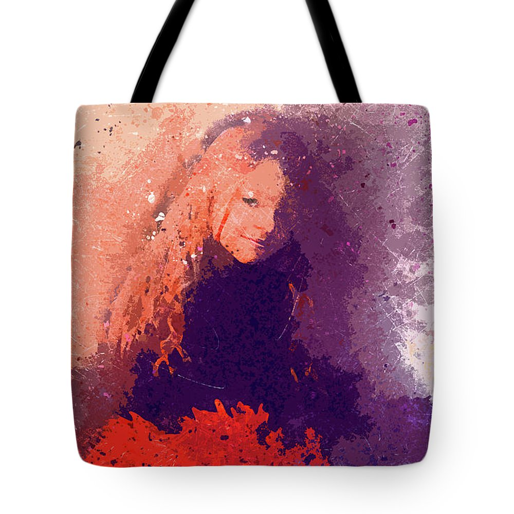 Young Girl With Red Flowers 2 Red Hair Purple Highlights Flowers Floral Plant Nature Hot Orange Watercolor Effect Digital Art Photography Peggy Cooper Cooperhouse Impressionist Modern Impressionism Tote Bag featuring the digital art Girl With Red Flowers 2 by Peggy Cooper