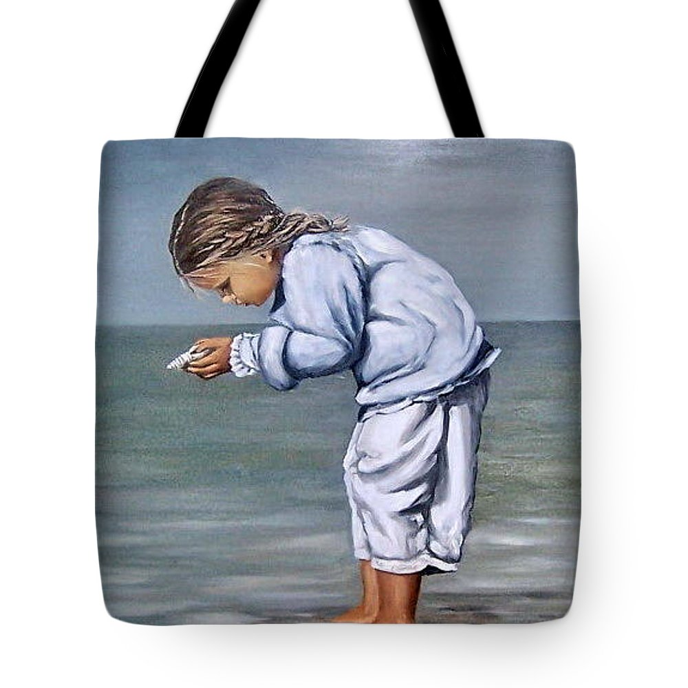 Kid Girl Seascape Sea Children Reflection Water Sea Shell Figurative Tote Bag featuring the painting Girl With Shell by Natalia Tejera