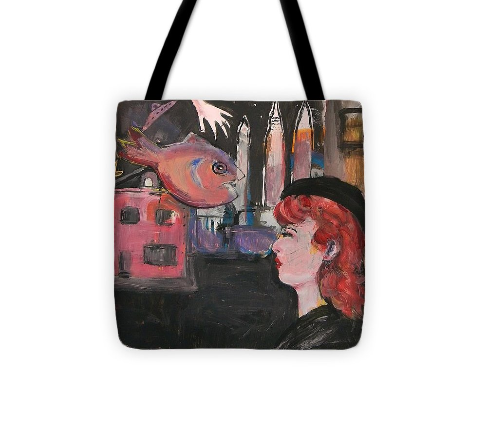 Pinup Tote Bag featuring the painting Girl With The Black Beret by Gerard Paradisi