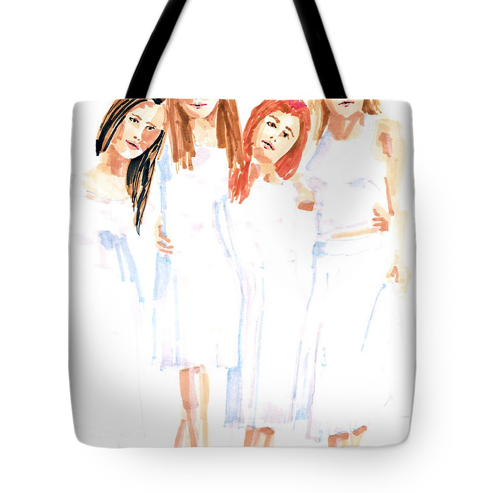 Girls Tote Bag featuring the painting Girlfriends by Arline Wagner