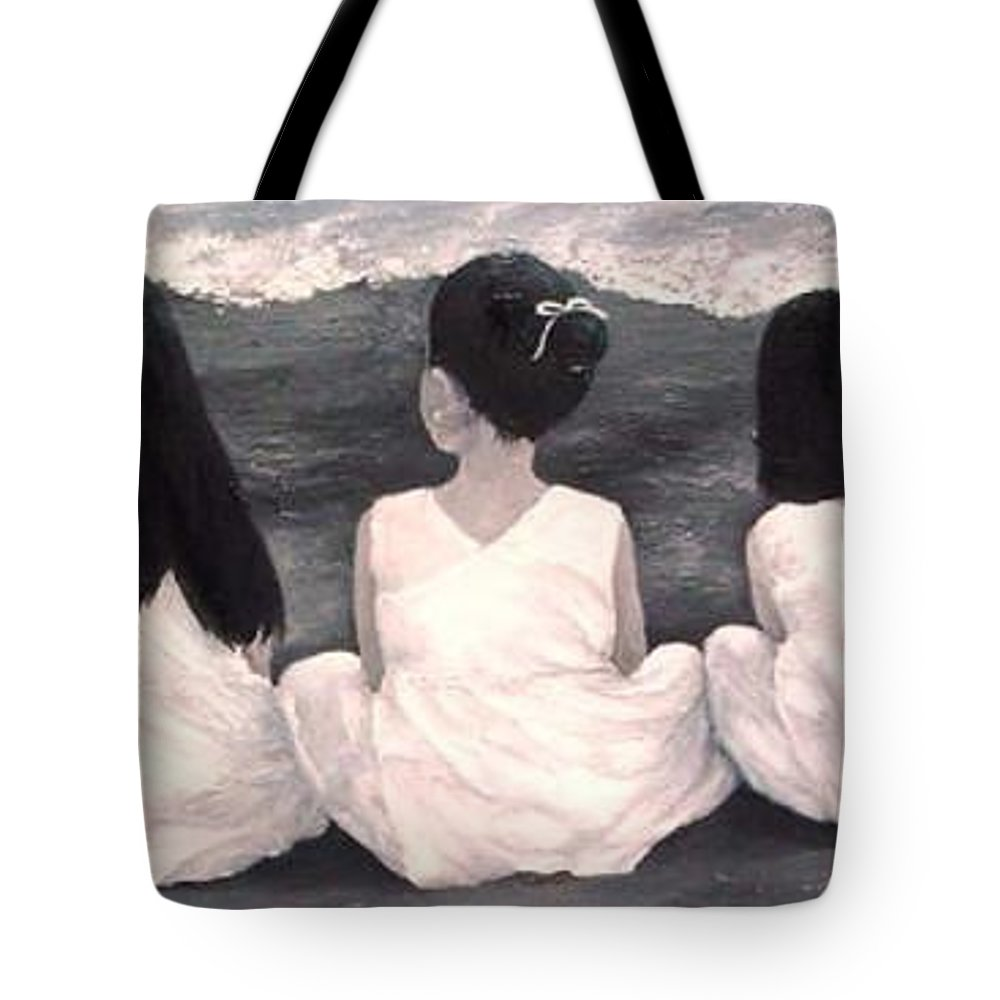 Girls Tote Bag featuring the painting Girls In White at the beach by Patricia Awapara
