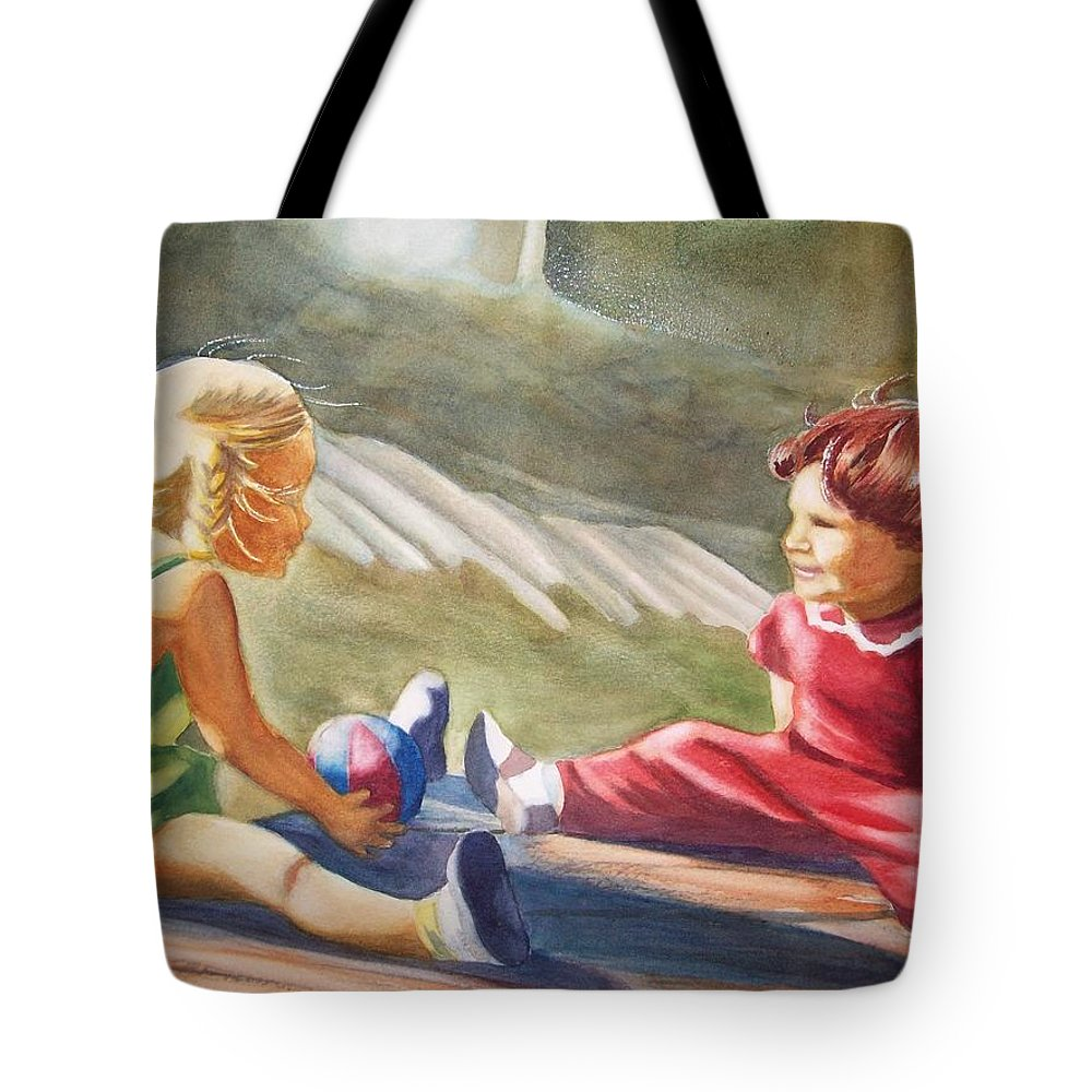 Girls Tote Bag featuring the painting Girls Playing Ball by Marilyn Jacobson